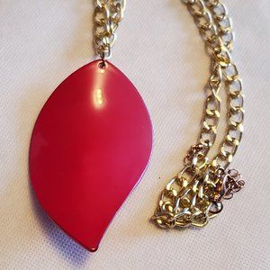 "21"" Gold Tone 4"" Red Leaf Pendant Necklace Artisan"